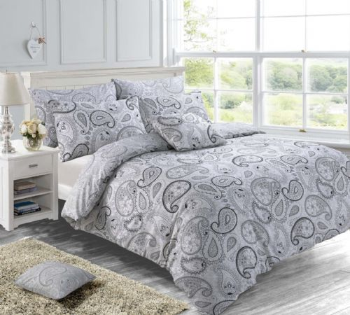 Grey Colour Reversible Paisley Floral Indian Ethnic Themed Design Bedding Duvet Cover Set